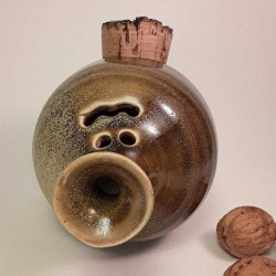Piggy -phantom- bank with cork navel, top side view