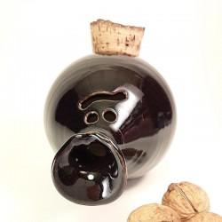 Piggy -phantom- bank with cork navel, up side view