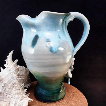 Stoneware sangria jug, left view