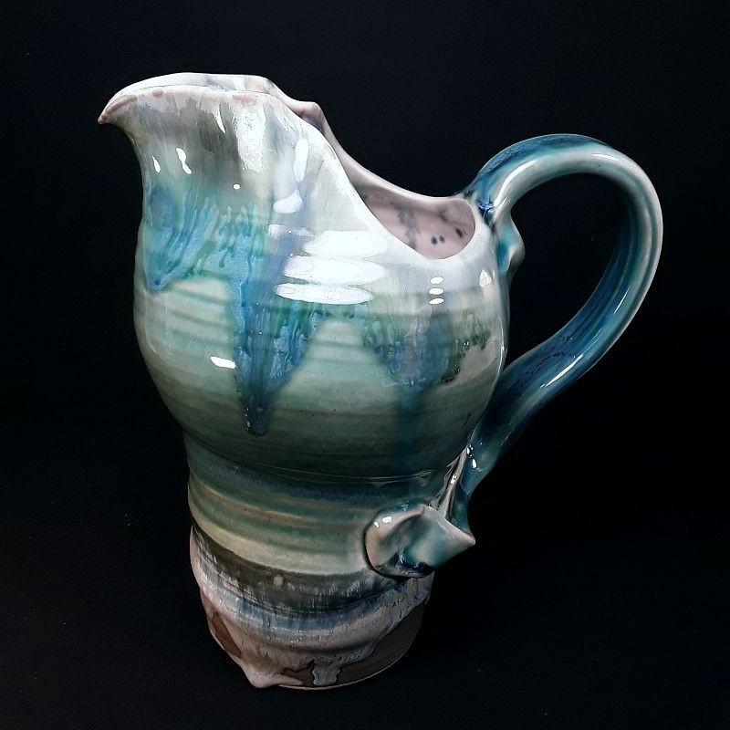 Stoneware tall jug, left view