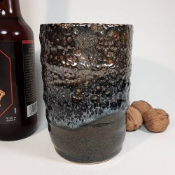 Stoneware tumbler, tall glass, right view