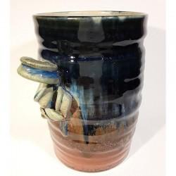 Jarrón, florero o vasija mediana de gres, vista izquierda