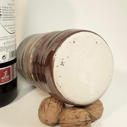 Stoneware tumbler, tall glass, down side view