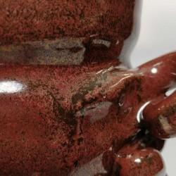 Jarrón, florero o vasija mediana de gres, detalle del esmalte