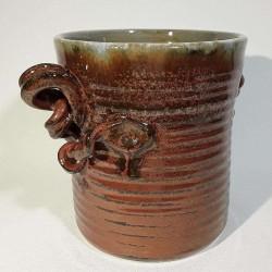 小型炻器花瓶,壺,罐,左侧视图