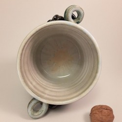 Stoneware vase or small canister, interior view