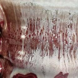 Jarrón, florero o vasija pequeña de gres, detalle del esmalte
