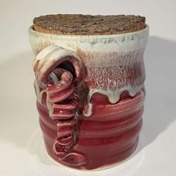 Jarrón, florero o vasija pequeña de gres, vista izquierda