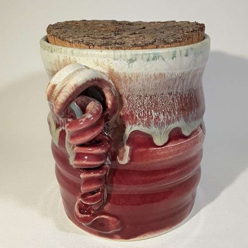 Stoneware vase or small canister, left view