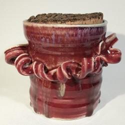 Jarrón, florero o vasija pequeña de gres, vista frontal