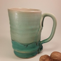 Tall stoneware beer mug, right view