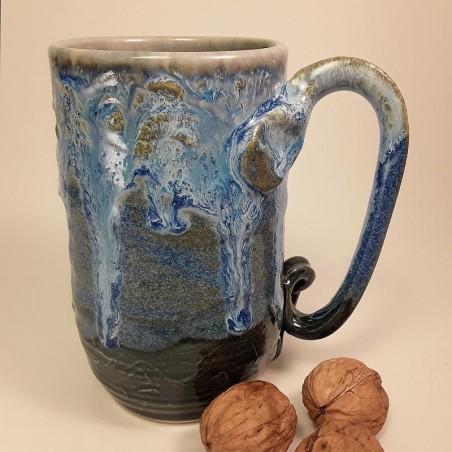 Tall stoneware beer mug, right view