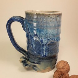 Tall stoneware beer mug, left view