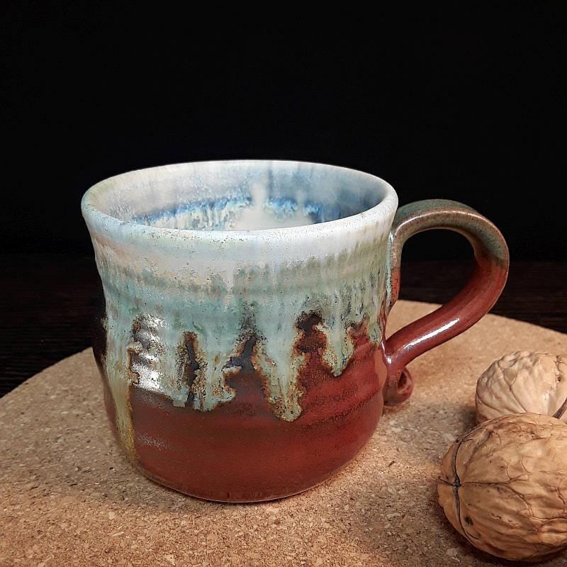 炻器浓缩咖啡杯子,右侧视图
