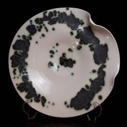 Midsize translucent porcelain dish, front view